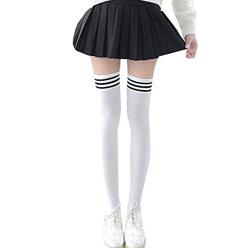 XTBL Kniestrumpfe Frauen Lange Streifen Socken Overknee Strümpfe Damen Lange Gestreifte Socken Thigh High Socks kniestrümpfe damen baumwolle Extra Lange Stiefelstrümpfe für Frauen (schwarz) (Weiß)