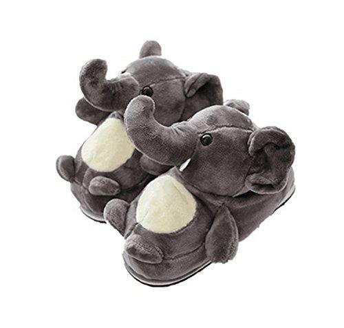 LANFIRE Tier Hausschuhe Hamster Hausschuhe Winter Hause warme rutschfeste Baumwolle Hausschuhe (Elephant)