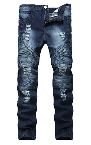 NITAGUT Men's Ripped Destroyed Distressed Slim Fit Jeans Biker Jeans Dark Blue US 38