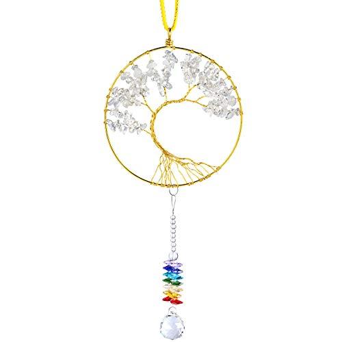 Nupuyai Arco Iris atrapasoles Cristal Piedras Preciosas árbol de la Vida Colgante para Colgar Ventana decoración, Blanco