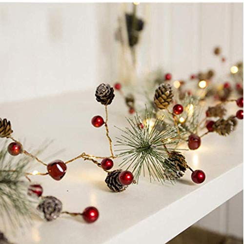 Christmas Garland Battery Operated LED Lighted Mini Pine Cone Garland with Red Berries Perfect for Christmas Decorations and Gifts