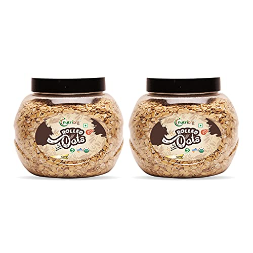 Nutriorg Organic Rolled Oats 1 Kg (Pack of 2* 500 g)   USDA Certified   High Fiber and Protein Rich Oats   Weight Management