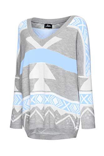 Mikos Damski damski sweter z dzianiny z długim rękawem wzór aztecki luźny sweter sweter dzianina bluzki (650)