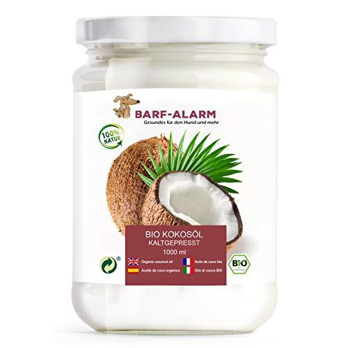 barf-alarm 100% Bio Kokosöl für Hunde 1000ml – Kokosnussöl Kokosfett Hund – Bio Qualität– Kaltgepresst nativ – Kokos Öl flüssig – Welpen, Adulte, Senioren & Sporthunde
