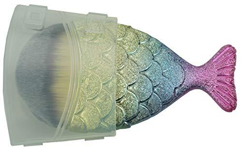 Exclusieve make-up kwast veganistisch in visvorm, professioneel poeder en foundation kwast in glinsterende pastel met kap, fijnste kunsthaar, lengte: 11 cm, foundation Brush voor make-up van Fantasia