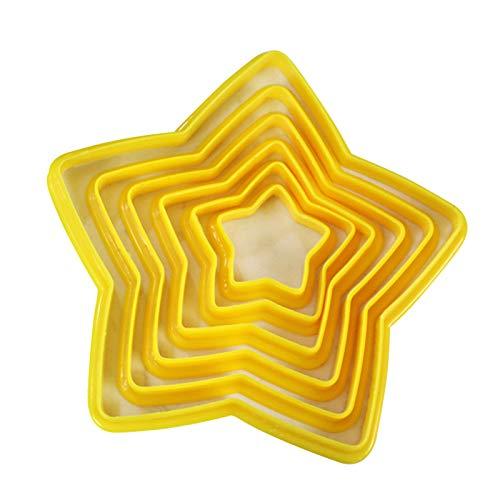 URFEDA 6 cortadores de Galletas en Forma de Estrella, cortadores de Galletas de Varios tamaños, Herramientas para Hornear, Utensilios de Cocina, Accesorios para Herramientas para Hornear