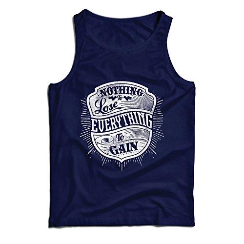 lepni.me Camisetas de Tirantes para Hombre Nada Que Perder - Todo para Ganar - Citas Inspiradoras y motivadoras, Frases alentadoras (Small Azul Multicolor)