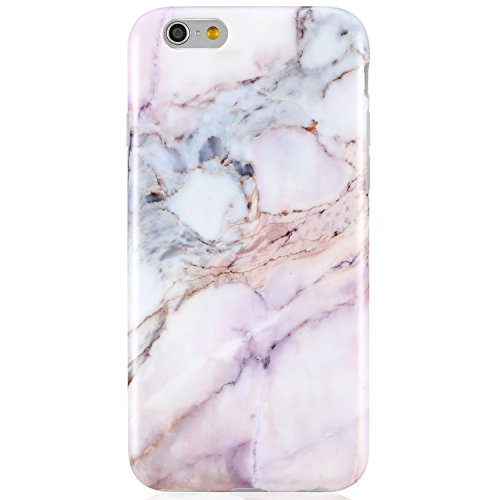 VIVIBIN iPhone 6 Case,iPhone 6s Case,Cute Pink Purple Marble for Girls Women Clear Bumper Best Protective Soft Silicone Rubber Matte TPU Cover Slim Fit Thin Phone Case for iPhone 6/iPhone 6s