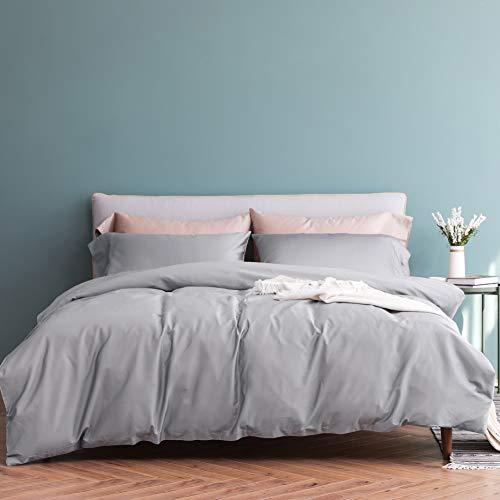 Vanc Home 1000TC Plain Satin Duvet Cover & 2 Pillowcases Egyptian Cotton (Silver, Double)