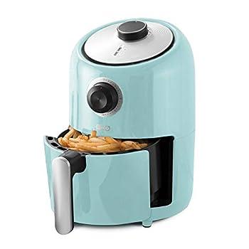 Dash Compact Air Fryer Oven Cooker with Temperature Control Non-stick Fry Basket Recipe Guide + Auto Shut off Feature 2 Quart - Aqua