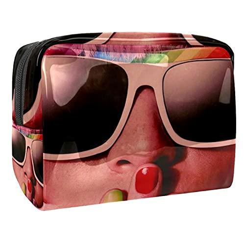 Estuche de Maquillaje Estuche de Aseo Estuche de cosméticos Organizador portátil de Alta Capacidad Gafas de Sol para Mujer niña