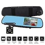Caméra enregistreur HaoYiShang voiture DVR, HD 1080P, caméra de tableau de bord pour moniteur de 4,2 pouces, rétroviseur, support de caméra double en plusieurs langues