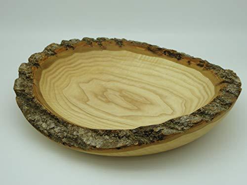 Edle Schale Teller aus Esche Holz gedrechselt, Handarbeit Edelholz, Naturrand
