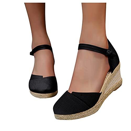 Dasongff Sandalias de cuña para mujer, sandalias romanas, alpargatas, gladiador, Strappy Hollow Out elegantes, sandalias romanas, sandalias de verano bohemias con interior de la puntera