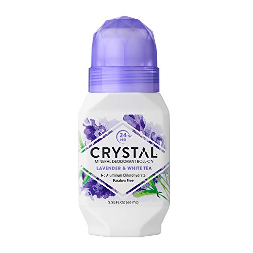 CRYSTAL Mineral Deodorant Roll-On Body Deodorant With 24-Hour Odor Protection, Non-Staining & Non-Sticky Deodorant with Lavender & White Tea, Aluminium Chloride & Paraben Free, 2.25 FL OZ