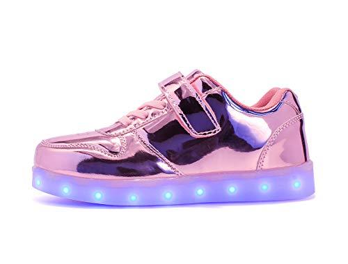 Cliont Zapatillas 7 Colors USB Carga LED Luz Luminosas Flash Zapatos de Deporte para Mujeres Blanco para Niños Adolescentes Niñas Adolescentes