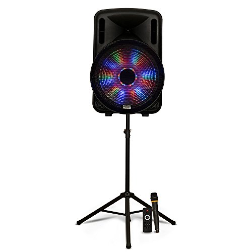 """Acoustic Audio PRTY151 Battery Powered 15"""" Bluetooth LED Speaker with Wireless Mic and Stand"""
