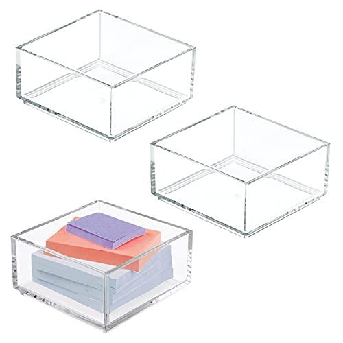 mDesign Organizador de escritorio – Práctica caja de almacenaje para clips, notas y otro material de oficina – Cajas apilables de plástico para despacho – Juego de 3 – transparente