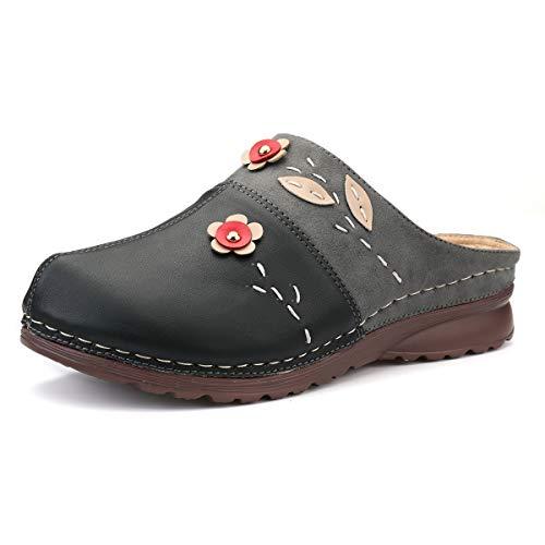 gracosy Clogs Damen Pantoletten Leder Sandalen Bequeme Soft Plattform Sommerschuhe Rückenfreie Sandalen Urban Open Clogs Schwarz
