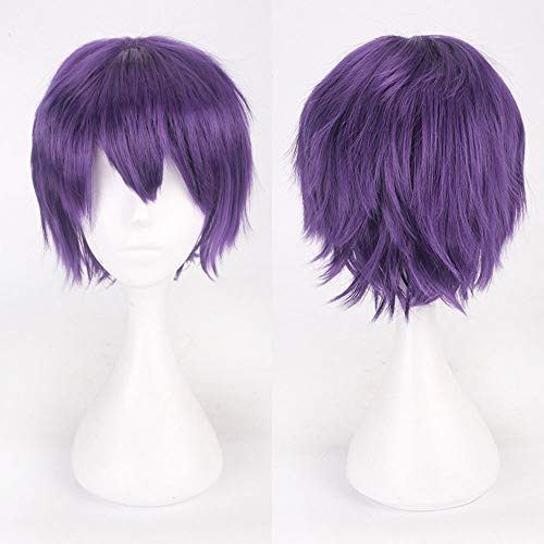 serliy Multi Color Short glattes Haar Perücke Anime Party Cosplay Volle Verkauf Perücken 35cm (Lila)