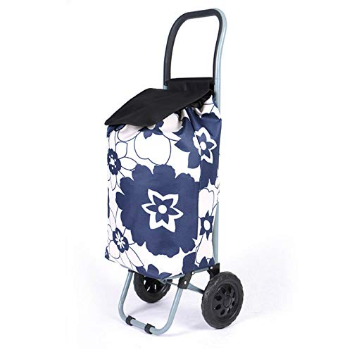 moxin Chariot de Courses Pliable avec 2 Roues, Facile à Ranger Le Chariot à Bagages, élégant pour Hommes et Femmes,Blue