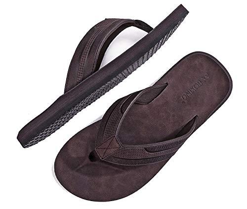 ARRIGO BELLO Chanclas Hombre Flip Flops Cuero Sandalias Verano Antideslizante Piscina Playa Interior Talla 41-46(DK. marrón, 43)