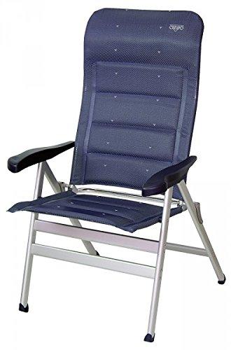 Chaise pliante « Der Crespo confortable » - Stabilo de luxe compact - Charge jusqu'à 200 kilos - 7 positions réglables - Stabilo - Chaise de camping légère - 4,6 kg - En aluminium - Stabilo - Fauteuil exclusif Avec dossier haut. Couleur : bleu foncé – déporté – Holly.
