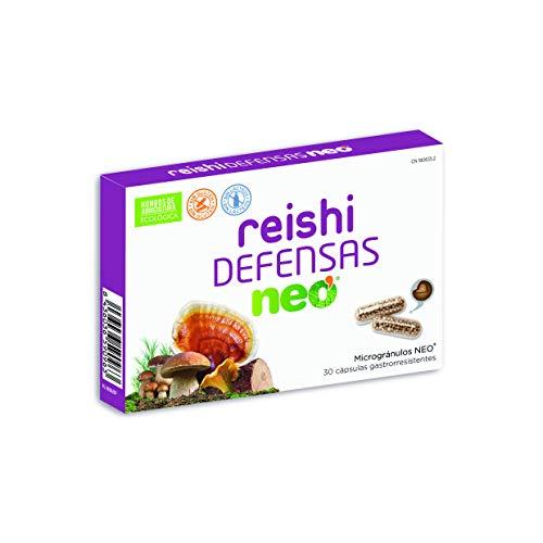 REISHI NEO | Defensas Complemento Alimenticio 30 Cápsulas | Hongos de Agricultura Ecológica, Certificado Halal, Kosher | Para Aumentar las Defensas | Apto para Vegetarianos | Tomar 1 o 2 al día