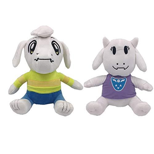 kelee Plush: 2pcs Undertale Plush Figure Toy Stuffed Toy Sans Papyrus Chara Frisk Flowey Temmie Asriel Toriel Lancer Ralsei Undyne Doll for Children(9.8''-14.1'') (E-Asriel& Toriel)