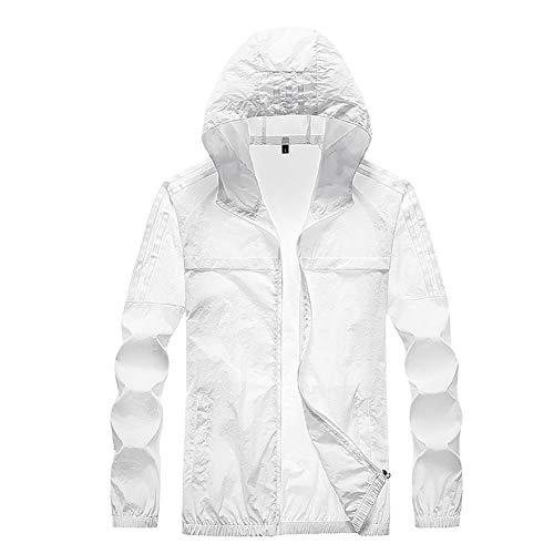 G&F Anti-UV Veste Manteau Softshell Hommes Protection Solaire Respirant pour Plein Air Poids Léger M-4XL (Color : White, Size : L)