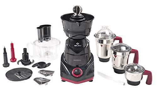 Bajaj Maverick Mixer Grinder, 750W,  3 Jars, Food Processor Bowl and Coconut Scraper (Black)