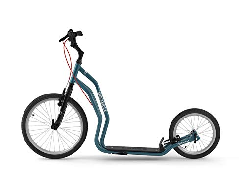 Yedoo Mula Tretroller - bis 150 kg, Kickscooter mit Luftreifen 20/16 - für Erwachsene, Scooter Roller mit Ständer und verstellbare Lenker, Dogscooter, blau