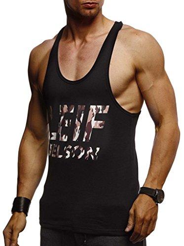Leif Nelson Gym Herren Stringer T-Shirt Sport Fitness ohne Ärmel Männer Bodybuilder Trainingsshirt Top ärmellos Sportshirt Bodybuilding Training LN8243 Schwarz-Camouflage-Braun Large