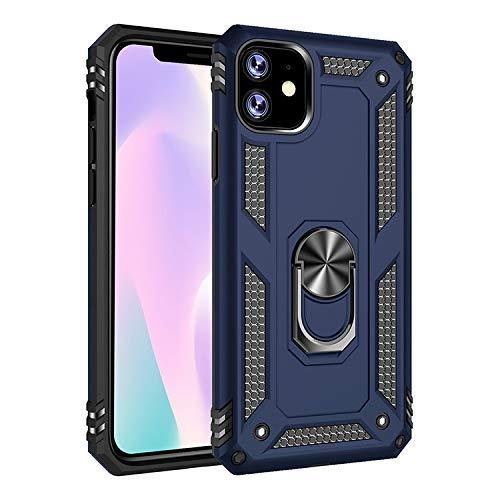 Tanxinxing for 11 iPhone (6,1 Inch) Neue Dual Layer Hybrid Stoß- Schutzhülle mit einem 360 Grad-Metalldreh Finger-Ring-Halter (Farbe : Blau)