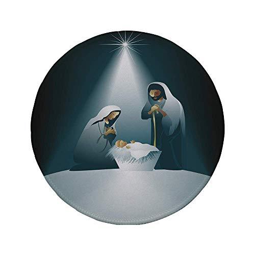 Rutschfester Rubber Round Mouse Pad religiös Weihnachten Thema Wichtige Geburtsszene mit Familie Mutter Vater und das Baby schwarz weiß grau 7,9 'x 7,9' x3MM