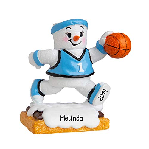 Personalized Marshmallow Basketball Girl Christmas Tree Ornament 2020 - Snow-Man Team Athlete B-Ball Active School Hobby Profession College Year Grand-Daughter S'Mores Holiday - Free Customization