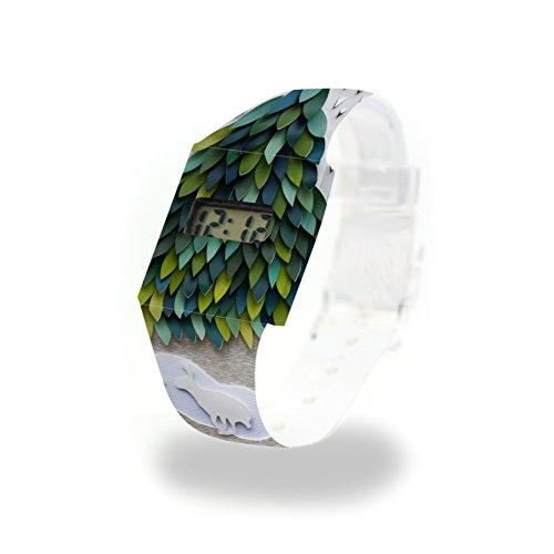 SCHNEEHASE - Pappwatch - Paperwatch - Digitale Armbanduhr im trendigen Design - aus absolut reissfestem und wasserabweisenden Tyvek® - Made in Germany , absolut reißfest und wasserabweisend