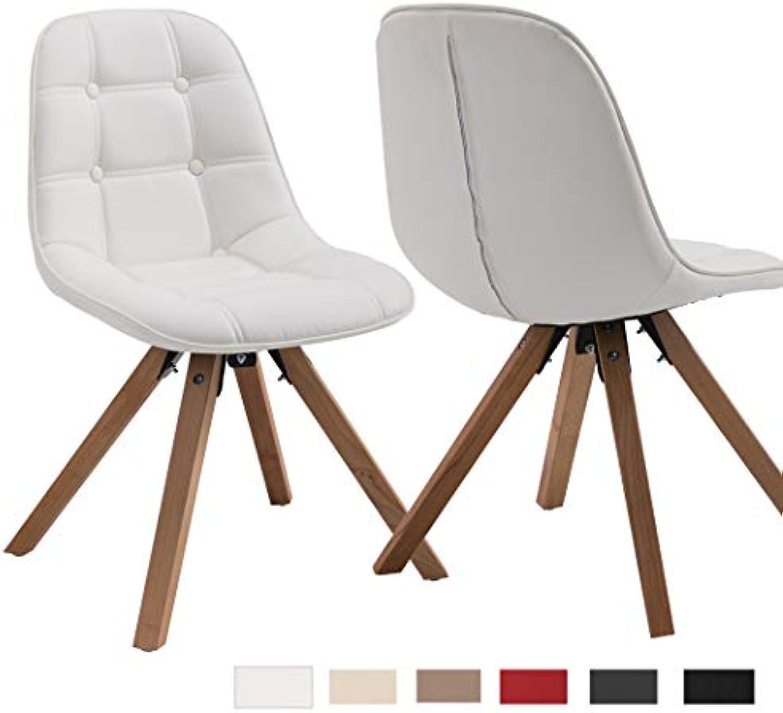 Duhome Elegant Lifestyle 2er Set Esszimmerstuhl aus Kunstleder Wei Farbauswahl Retro Design Stuhl mit Rückenlehne Holzbeine WY-466