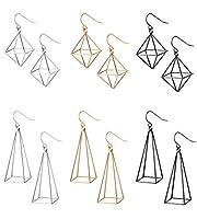 SHIWE 6 Pairs Geometric 3D Triangle Earrings for Women Hollow Polygon Earrings Punk Dangle Earrings Set [並行輸入品]