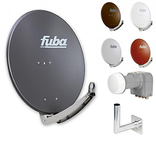 Fuba Digital HDTV Sat-Anlage 4 Teilnehmer | Fuba DAA 780 Premium Aluminium Sat-Antenne in Wunschfarbe + DEK 416 Quad LNB + Fuba DAZ Winkelwandhalter