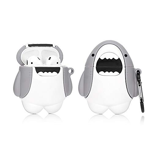 LEWOTE Airpods Silicone Case Funny Cute Cover Compatible for Apple Airpods 1&2[Animal Pet Series][Best Gift for Girls or Couples] (Big White Shark)