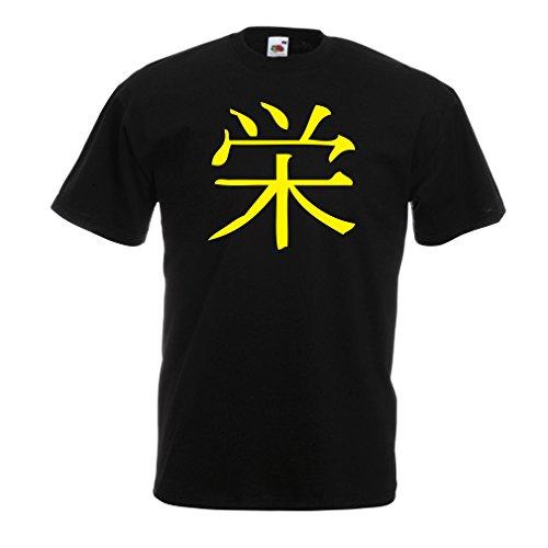 lepni.me Camisetas Hombre Insignia de Prosperidad - Símbolo de Kanji Chino/Japonés (X-Large Negro Amarillo)
