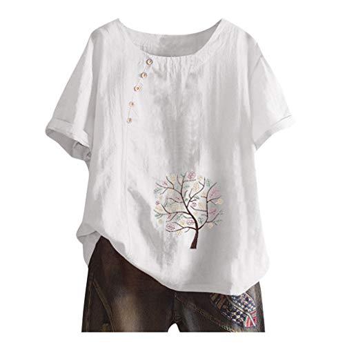 Best Deals! Sanyyanlsy Women Vintage Print O-Neck Floral Printed Button Short Sleeves Top Blouse Plu...