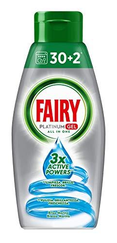 Fairy Platinum Gel Detersivo per Lavastoviglie, Brezza Marina, 30 + 2 Lavaggi, 100 % Dissoluzione e Pulizia, 1 unità