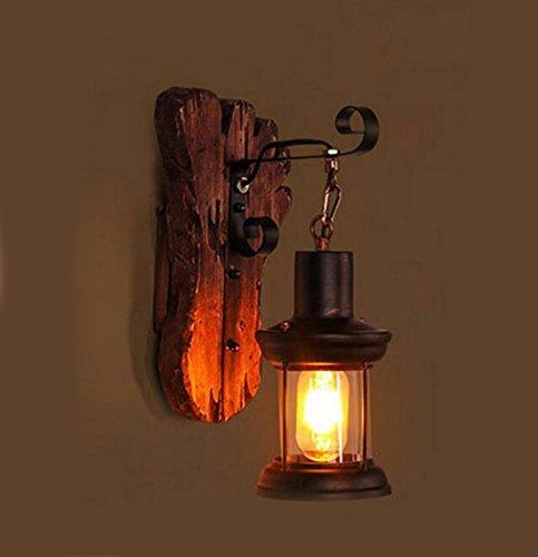 Wandlampe Amerikanische Altes Schiff Holz Esszimmer Schlafzimmerwand Café Holz - Glas - Lampe,H