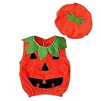 子供服 コスチューム ハロウィン ロンパースボディースーツ 帽子付き かぼちゃ 赤ちゃん 男女兼用 連体服 可愛い 秋冬 2点セット綿 70-120cm Cutelove