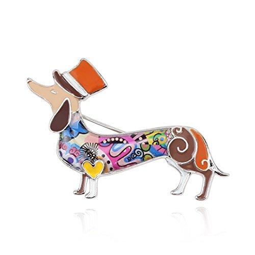 BONSNY Dachshund Brooch Sausage Dog Heeler Charm Women Girls Unique Handcrafted (Brown)