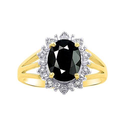 Juego de anillos de diamante y ónice en plata chapada en oro amarillo, diseño elegante de Halo Princesa Diana