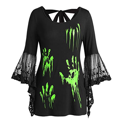 LODDD Halloween Women Shirt Fashion Plus Size Lace Flare Sleeve Blood Hands Print Back Knotted Top Green