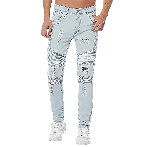 LONGBIDA Men Biker Jeans Skinny Distressed Ripped Casual Denim Pants(Blue,32)